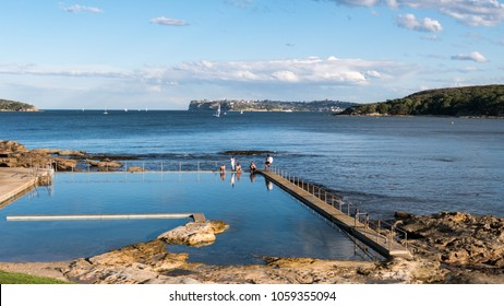 SYDNEY, AUSTRALIA - MAY 28, 2017 - The tidal pool at Fairlight Beach. This tidal pool can be found along the Spit to Manly coastal walk.