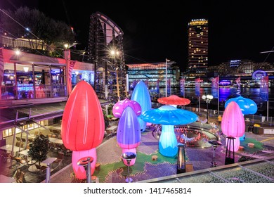 Sydney / Australia - May 28 2019: Vivid Sydney Festival. A Colorful Nighttime Display of Giant Inflatable, Illuminated Mushrooms in Cockle Bay