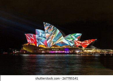 SYDNEY, AUSTRALIA - MAY 29, 2014: Vivid Sydney is an annual outdoor lighting festival with immersive light installations and projections. It includes performances from local & international musicians.