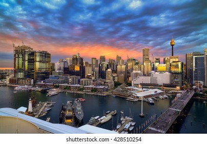 SYDNEY, AUSTRALIA - May 29, 2016 : Sunset of Darling Harbour, adjacent to the city center of Sydney and also a recreational place in Sydney central business district