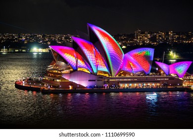 Sydney, Australia - May 29, 2018;  Sydney Opera House illuminated with beautiful images at Vivid Sydney