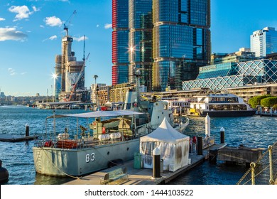 "Sydney / Australia - May 29 2019: View of Darling Harbour. In the Foreground is the Australian Navy Patrol Boat HMAS ""Advance"", Now a Decommissioned Museum Ship"