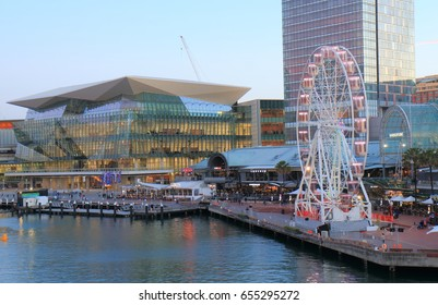 SYDNEY AUSTRALIA - MAY 30, 2017: Unidentified people visit Darling Harbour Harbourside.