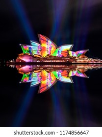 Sydney, Australia - May 30, 2018: The Sydney Opera House has a colorful design projected onto its sails at night as part of the Vivid Sydney festival.