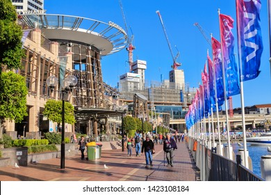 Sydney / Australia - May 30 2019: View of Cockle Bay Wharf, an Area of Restaurants and Bars in Darling Harbour, Sydney