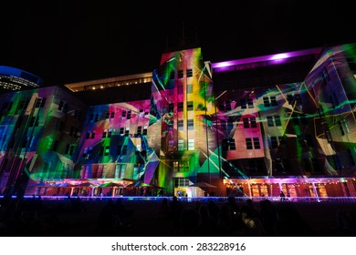 SYDNEY, AUSTRALIA - MAY 31, 2015: Museum of contemporary arts during Vivid Sydney festival. Vivid Sydney is an outdoor annual cultural event featuring immersive light installations and projections.