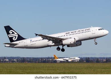 Sydney, Australia - May 5, 2014: Air New Zealand Airbus A320 taking off from Sydney Airport.