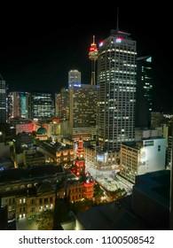 SYDNEY, AUSTRALIA - MAY 5, 2018: Long exposure night scene of Sydney skyscrapers cityscape aerial view