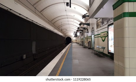 SYDNEY, AUSTRALIA - MAY 5, 2018: subway track and tunnels, where is quiet place at St.Jame railway station in city of Sydney, Australia.