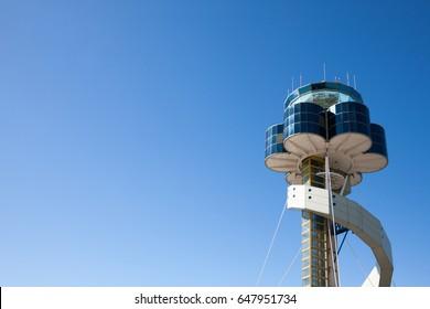 Sydney, Australia - May 6, 2014: Sydney Airport air traffic control tower.