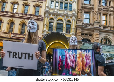 SYDNEY, AUSTRALIA, May 6, 2017:  Peaceful Demonstration by Animal Rights Activists Anonymous for the Voiceless at Pitt Street, Sydney Australia