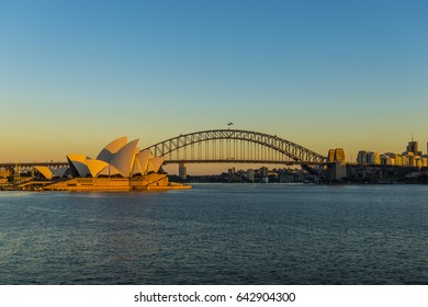 SYDNEY, AUSTRALIA, May 7, 2017: Early morning view of the Sydney Opera House and the Harbour Bridge.