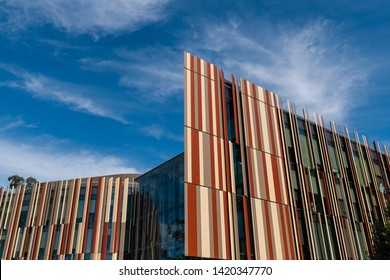 Sydney, Australia - May 9, 2019: Side view of tile facade at Macquarie University Library.
