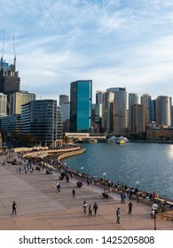 Sydney, Australia - May 9, 2019: Sydney CBD skyline view from Opera House.