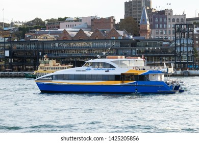 Sydney, Australia - May 9, 2019: Manly fast ferry at Sydney Harbour, Circular Quay.