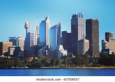 SYDNEY Australia - May24, 2017: Beautiful panoramic skyline,Sydney Tower and Sydney Business District skyscrapers.The city attracts 10 million visitors around the globe annually.