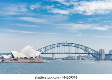 SYDNEY, AUSTRALIA - NOVEMBER 05, 2014: Sydney Opera House and Harbour Bridge. Australia. River Water Taxi