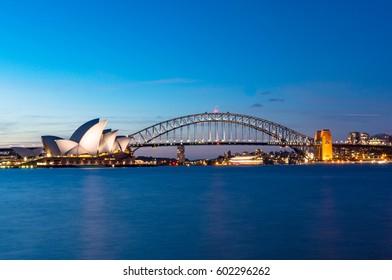 Sydney, Australia - November 07, 2014: Sydney Opera House and Sydney Harbour Bridge at night. Australian landmarks