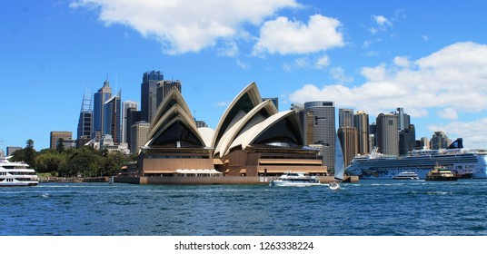 Sydney, Australia - November, 11 2017: Sydney skyline with iconic Sydney Opera House as seen from the harbor.