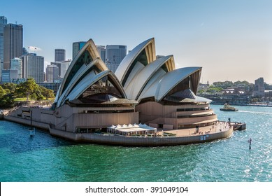 SYDNEY, AUSTRALIA - NOVEMBER 12, 2014: Sydney Opera House view from a cruise ship in Sydney, Australia. Sydney Opera House was designed by Danish architect Jorn Utzon, finally opening in 1973.
