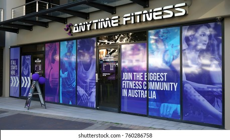 Sydney, Australia - November 13, 2017: Anytime Fitness Edgecliff entrance exterior. Anytime Fitness is a biggest gymnasiums chain in Australia that offers 24 hour access to its members.