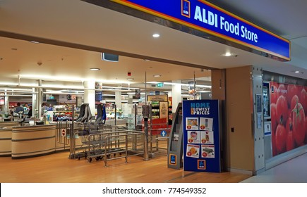 Sydney, Australia - November 13, 2017: Aldi supermarket entrance interior in Edgecliff. Aldi is a large German discount supermarket chain that is expanding its operations in Australia.