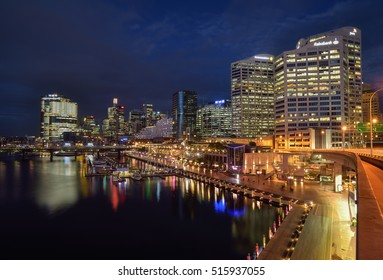 SYDNEY, AUSTRALIA - November 14, 2016 : Night scene of Darling Harbour, adjacent to the city center of Sydney and also a recreational place in Sydney central business district