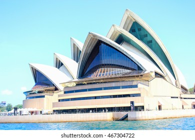 Sydney, Australia - November 18, 2011: Boat with deep blue sea and blue sky in Sydney Harbour.