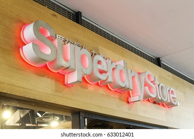 SYDNEY, AUSTRALIA - NOVEMBER 18, 2016: Detail of Superdry store in Sydney, Australia. It is a British international branded clothing company founded at 1985.