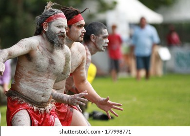 SYDNEY, AUSTRALIA � NOVEMBER 19: Aboriginal dancers perform at the Official opening on the refurbished Audley Dance Hall at the Audley Weir in the Royal National Park on November 19, 2012 in Australia