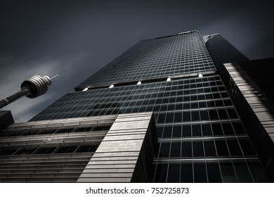SYDNEY, AUSTRALIA - November 2, 2017: Looking up perspective in black and white of the monumental glass walled ANZ Tower, also called Liberty Place and the Sydney Tower Eye, iconic landmarks in Sydney