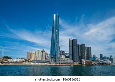 Sydney Australia - November 21, 2020: View of Sydney Barangaroo Crown Casino development, city skyline and harbor.
