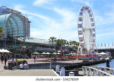 SYDNEY, AUSTRALIA - NOVEMBER 25, 2016: Modern skyscrapers at Darling Harbour in Sydney, Australia. Darling Harbour is home to a number of major public facilities and attractions