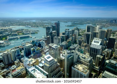 SYDNEY, AUSTRALIA - November 26, 2017: High angle view of panoramic skyline and cityscape of central Sydney.