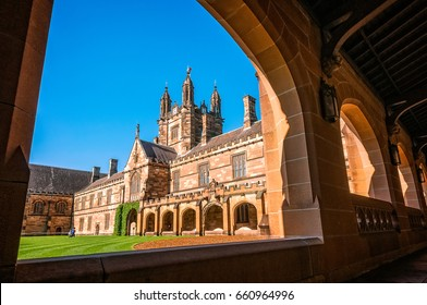Sydney, Australia -November 3, 2016: Sydney University Quadrangle is probably one of the most significant Gothic Revival buildings in Australian architecture. The graduations are celebrated here.
