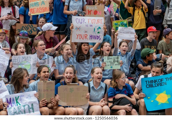 Sydney, Australia - November 30, 2018 - Thousands of Australian students gather for climate change protests, defying calls by Prime Minister Scott Morrison to stay in school. In a huge rally at Martin