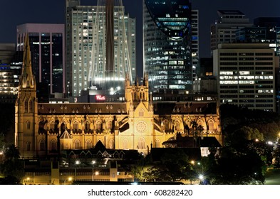 SYDNEY, AUSTRALIA – NOVEMBER 5, 2016: St. Mary's Cathedral represents the spiritual origins of the Catholic Church in Australia and sits in the center of Sydney's business district.