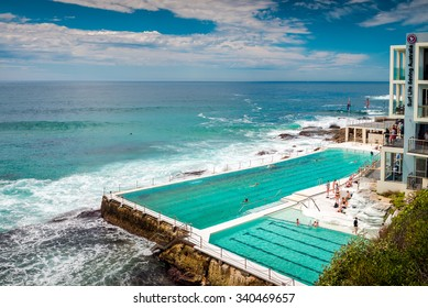Sydney, Australia - November 6, 2015: People at the Bondi Beach open swimming pool during a day. Bondi beach is one of the most famous tourist sites in Australia
