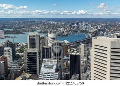 Sydney, Australia, NSW - November, 2012 - Aerial cityscape view of Sydney Harbour Bridge and Sydney Opera House in Sydney