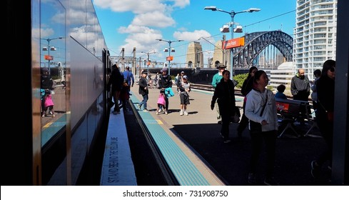 Sydney, Australia - Oct 10, 2017: Transportation in Sydney, the train at Milsons Point station, Milsons Point is a suburb on the lower North Shore of Sydney.