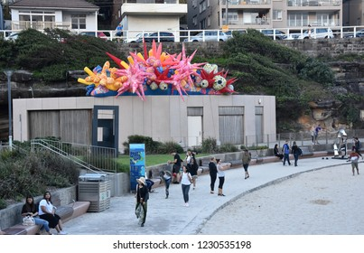 Sydney, Australia - Oct 23, 2018. Goldberg Aberline Studio (GAS): Microcosm. Sculpture by the Sea along the Bondi to Coogee coastal walk is the world largest free to the public sculpture exhibitions.