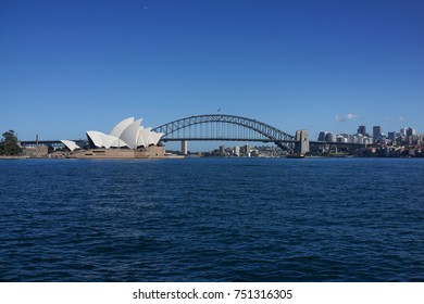 SYDNEY AUSTRALIA - OCTOBER 1, 2017: Panoramic Sydney cityscape, Harbour bridge and Sydney Opera House. Sydney is the state capital of New South Wales and the most populous city in Australia.