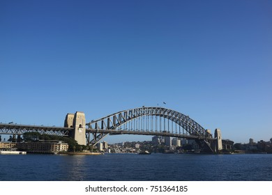 SYDNEY AUSTRALIA - OCTOBER 1, 2017: The Sydney Harbour Bridge is a steel through arch bridge across Sydney Harbour that carries traffic between the Sydney CBD and the North Shore.