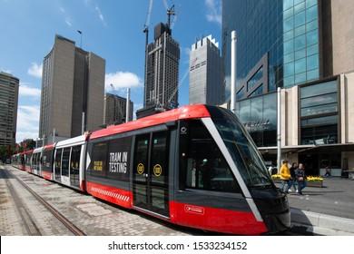 Sydney, Australia October 11 2019: Light Rail tram arrives at Circular Quay, Sydney CBD, New SouthWales, Australia .