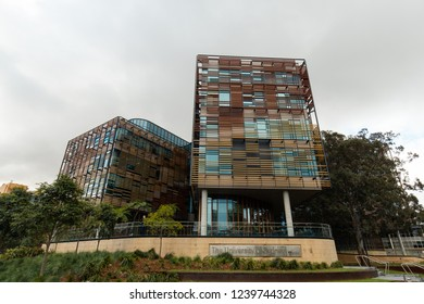 Sydney, Australia - October 12, 2018: Outdoors facade of the University of Sydney Abercrombie building.