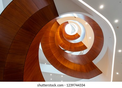 Sydney, Australia - October 12, 2018: Spiral staircase view of Abercrombie Building, the University of Sydney.
