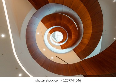 Sydney, Australia - October 12, 2018: Spiral view from lower ground of Abercrombie building, the University of Sydney.