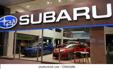 Sydney, Australia - October 15, 2017: Subaru automobile dealership on Forbes Street. Subaru is the automobile manufacturing division of Japanese transportation conglomerate Subaru Corporation.