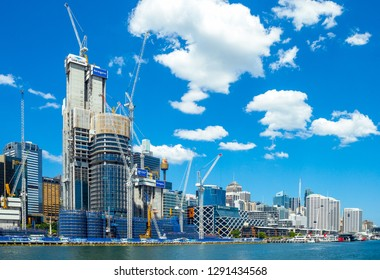 Sydney, Australia - October 16, 2014:  Construction sites in Darlin Harbour