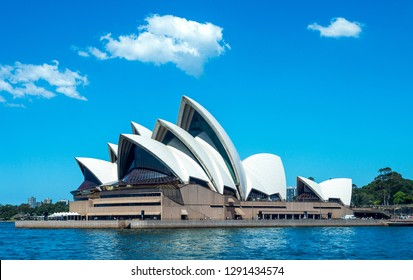 Sydney, Australia - October 16, 2014:  The Opera House seen from the bay